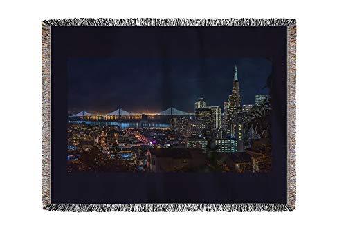 Lantern Press San Francisco, California - Golden Gate Bridge at Night from Russian Hill - Photography A-92296 (60x80 Woven Chenille Yarn Blanket)