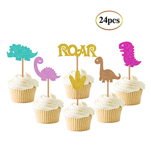 Baby Dinosaur Cupcake Toppers Glitter Dinosaur Cupcake Import It All