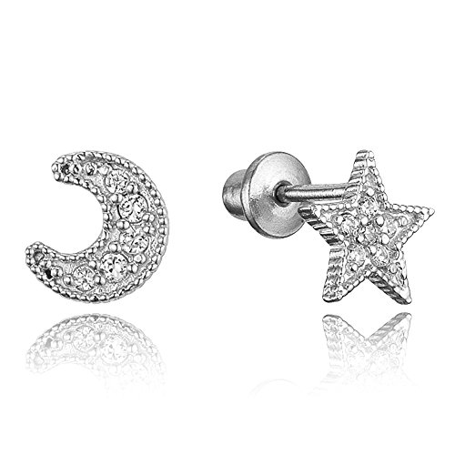 925 Sterling Silver Rhodium Plated Moon and Star Cubic Zirconia Screwback Baby Girls Earrings
