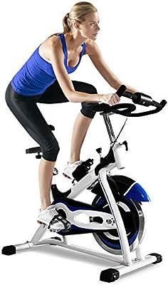 HLeoz Bicicleta Estática, Ajustable Resistencia Bicicleta Fitness de Gimnasio Ejercicio Sillín Ajustable Máx 180kg Rueda de inercia de 20kg: Amazon.es: Deportes y aire libre