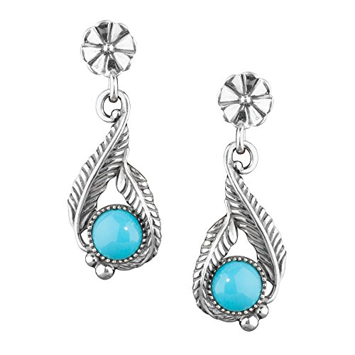 Sterling Silver Sleeping Beauty Turquoise Drop Earrings by American West
