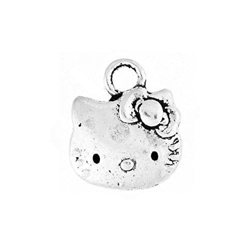 100pcs Shape Hello Kitty Cat Tibetan Charm Size 13x11x2 mm Hole Size1.5 mm Color As Picture TS1776
