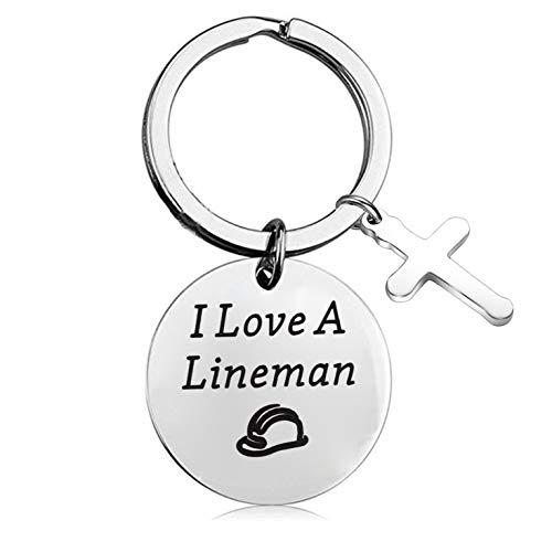 FEELMEM Lineman Wife Gift I Love A Lineman Keychain Lineman Wife Jewelry Line Wife Gift Lineman Girlfriend Gift or Sister Gift ()