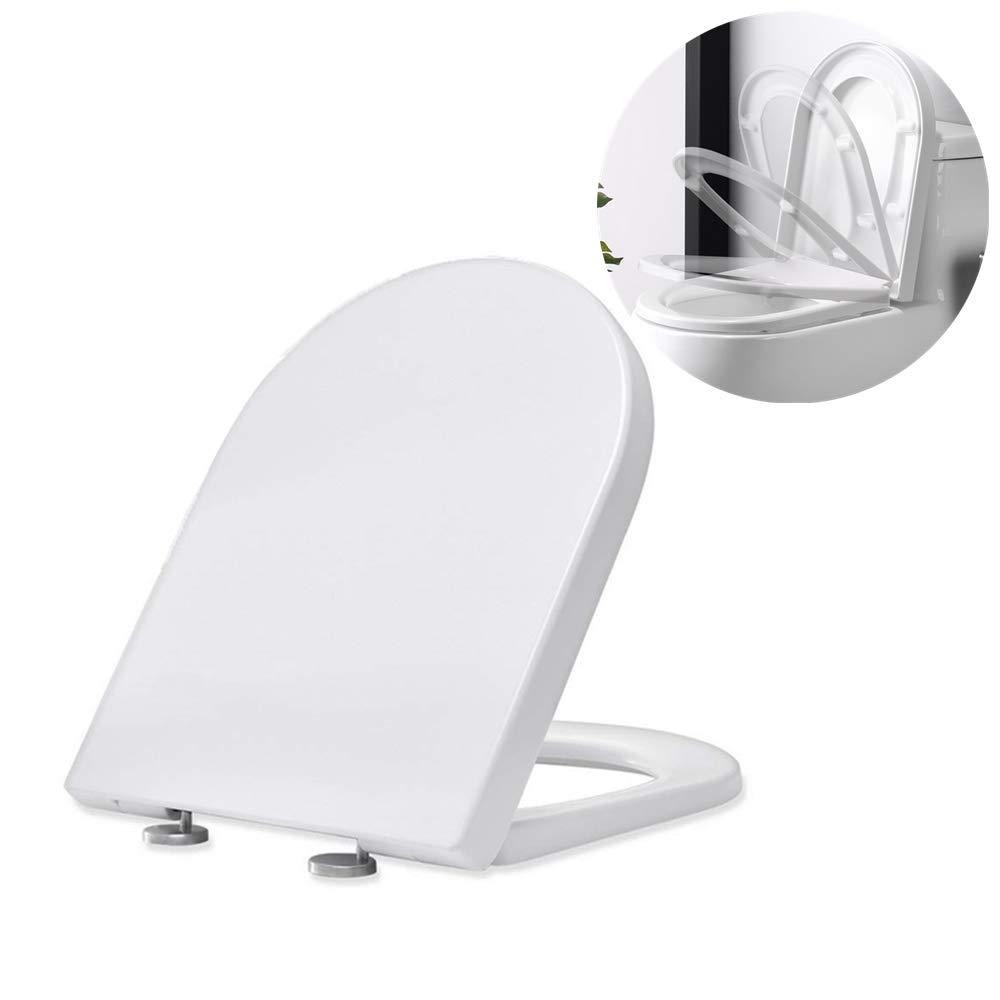 Homelody Abattants WC Frein de Chute Lunettes Toilettes en UF Couvercle de Toilette Blanc dans la Salle de Bain et Toilettes