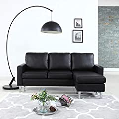 """Bonded Leather small space reversible chaise sectional sofa. Durable bonded leather upholstery with hardwood frame. Measures: 78"""" x 54"""" x 34"""". Minor assembly required (screw-on legs)"""