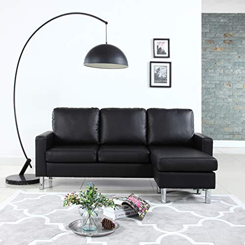 Modern Bonded Leather Sectional Sofa - Small Space Configurable Couch - Black (For Sectional Spaces Small Sofa Small)