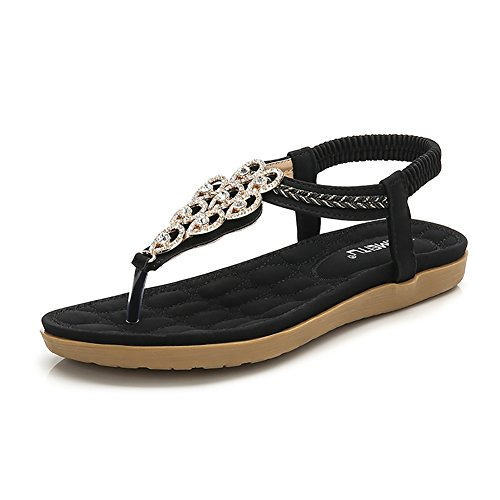 Picture of Wollanlily Women's Rhinestone Flat Sandals Glitter Shoes Bohemian Summer Beach T-Strap Flip-Flops Thong Sandals