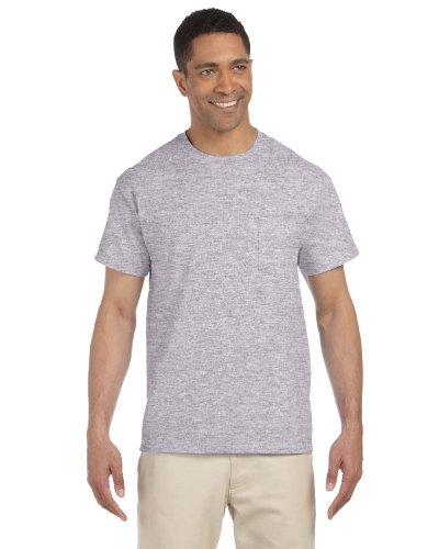 Gildan Mens Ultra Cotton 100% Cotton T-Shirt with Pocket, Large, Sport Grey ()