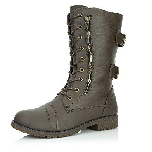 DailyShoes Damen Militär Ankle Lace Up Schnalle Kampfstiefel Mitte Kniehohe Exklusive Kreditkarten-Booties Brauner Pu