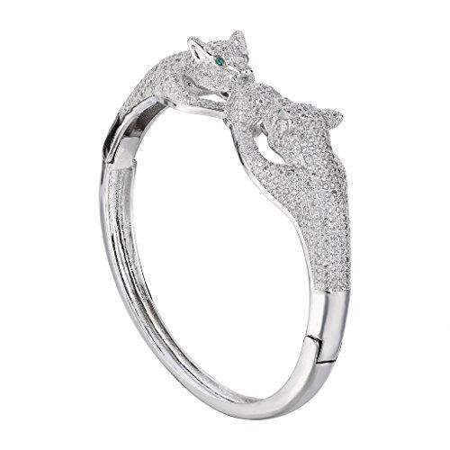 EVER FAITH Women's Cubic Zirconia Gorgeous Couple Leopard Animal Bangle Bracelet Clear Silver-Tone