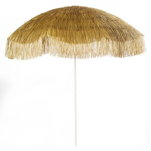 Bayside-21 6 FT Tiki Umbrella Thatch Beach Umbrella Tropical Palapa Raffia Tiki Hut Hawaiian Hula Beach Umbrella (6 FT, Natural) -