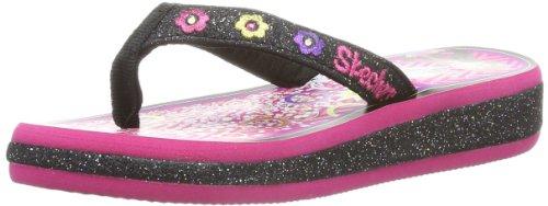 Skechers Sunshines Summerglow Girls Flip Flops Black/Hot Pin