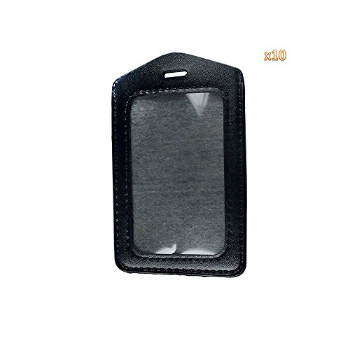 Leather Top Loading (Vanki Black 10 Pcs Faux Leather Business ID Badge Card Holder - Vertical (Top Loading) with Slot & Chain Holes)