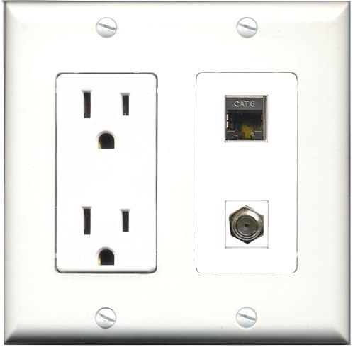 F-Type 1 Cat6 Ethernet White Wall Plate Decorative 4 Port HDMI 1 Coax Cable TV RiteAV