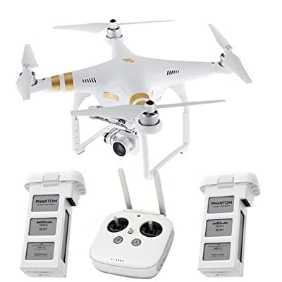DJI Phantom 3 4K Drone with 4K Camera and Gimbal, Remote Controller Included - Bundle with Spare Battery