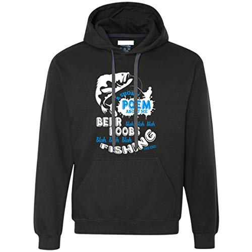 NEBNECK Fishing T Shirt, A Short Poem About Me Pullover Fleece Sweatshirt (M, Pullover Fleece Sweatshirt - Black) ()