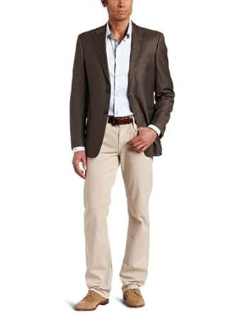 Tommy Hilfiger Men's 2 Button Side Vent Sharkskin Coat,  Brown, 40 Short