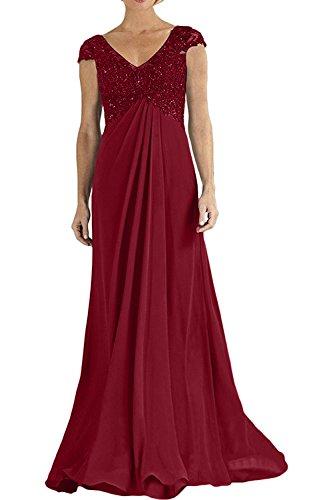 Festlichkleider 2018 Empire Rot Abendkleider La Dunkel Brautmutterkleider mia Partykleider Braut Chiffon Promkleider Neu Bodenlang xOOEvwn