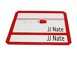 """JJ Nate Silicone Baking Mat Set – 2 pack – Non Stick Heat Resistant Cut Corners 16.5 *11"""" Standard Size Thinner Borders. Free Brush Included."""