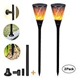 Viugreum 2 Pack Solar Lights,Waterproof Flickering Flames Torches Garden Lights Outdoor Landscape Pathway Lighting,Wine Glass Design Decoration Wall Lighting Dusk to Dawn Auto On/Off Solar Spotlight