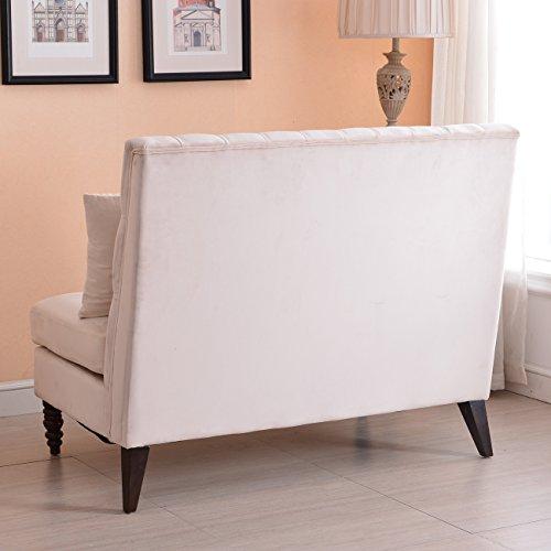 Belleze Modern Button Tufted Settee Bedroom Bench Loveseat Sofa Living Room Velvet Gray Beige