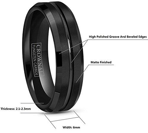 Crownal 4mm 6mm 8mm 10mm Black Tungsten Wedding Band Ring Men Women Beveled edges Polished Grooved Center Comfort Fit Size 4 To 17 (6mm,10) by CROWNAL (Image #2)