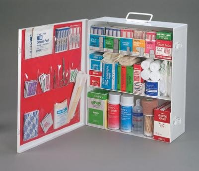 Radnor Three-Shelf 25 Person Durable Metal Industrial First Aid Cabinet