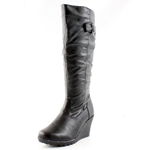 JAKARTA KNEE HIGH Boots Wedge Riding Equestrian Motorcycle Biker High Heel Shoes