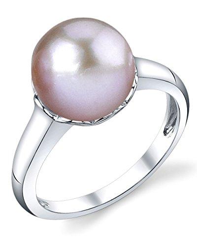 10mm Pink Freshwater Cultured Pearl Laurel Ring