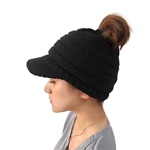 Autumn Winter Knit Caps Warm Soft Pony Tail Hair Free Cap Beanie Hat (Black)