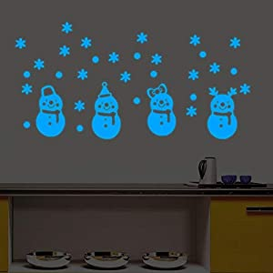 Glow in The Dark Snowman Wall Stickers, Christmas Party Home Window Decor for Living Room Bedroom, Beautiful Wall Decals Art Luminous Mural Home Decorations