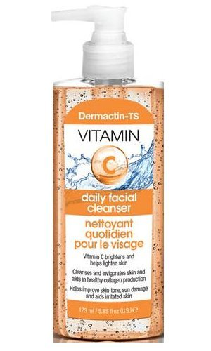 Dermactin-TS Daily Facial Cleanser with Vitamin C 5.85 oz. (4-PACK) - for Sun Damaged & Irritated Skin, Brightens & Lightens Skin, Cleanses & Invigorates Skin, Improves Skin-Tone
