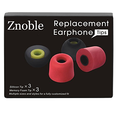 Earphone Tips Znoble Premium Replacement Earbud Tips(5mm-7mm,6 Pairs S/M/L)-Isolation Noise Cancelling Memory Foam Eartips(Red)&Silicone Replacement Earbuds Tips (Black), Fits most In-Ear (Space Ear Tips Kit Large)