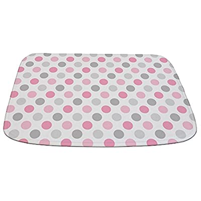 CafePress - Pink Gray Polka Dots - Decorative Bathmat, Memory Foam Bath Rug