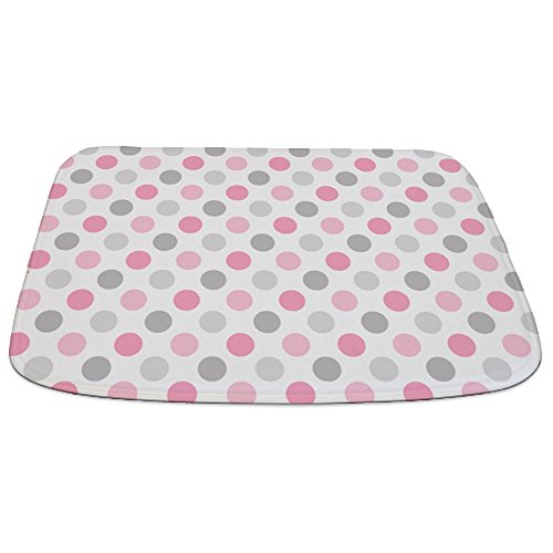 Polka Dots Pink Rug (CafePress - Pink Gray Polka Dots - Decorative Bathmat, Memory Foam Bath Rug)