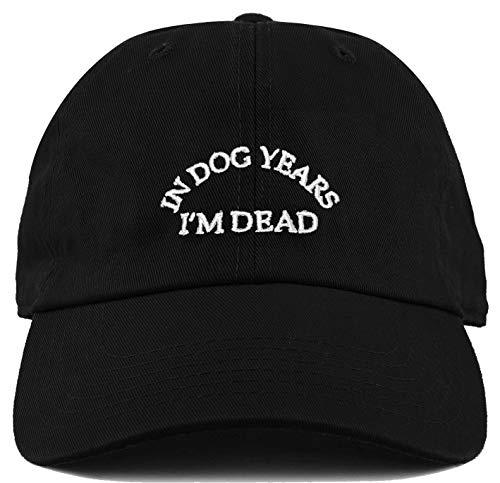 H-214-DYD06 Dad Hat Washed Vintage Baseball Cap - In Dog Years Im Dead (Black)]()