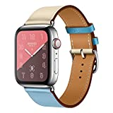 EloBeth 40mm/38mm Leather Band,Single Tour Men Women Loop Leather Replacement Wristband Compatible with Apple Watch Series 4 40mm Series 3 Series 2 Series 1 38mm-White/Blue