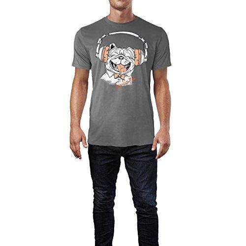 SINUS ART ® Lachender Hund mit pinken Kopfhörern Herren T-Shirts in Grau Charocoal Fun Shirt mit tollen Aufdruck