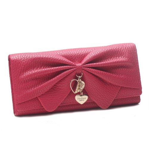 Damara Women Long Faux Leather Bifold Large Bow Design Wallet HandbagRose