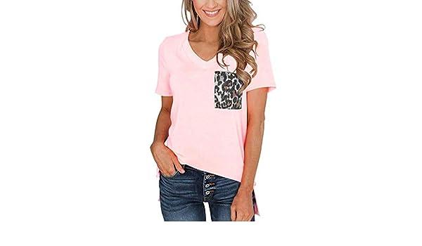 COOLIY_Mujer Camisetas Cuello en V de Manga Corta de Verano de Mujer Verano Camisa de Tops de Mujer Bello Elegantes Boemo Estampado Cubretraje Playa Cardigan Kimono Chiffon Elegante Rosa X-Large: Amazon.es: Ropa