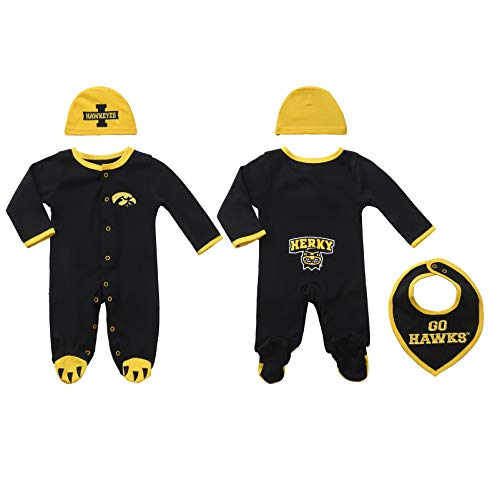 FAST ASLEEP Iowa Hawkeyes Baby Boy (3pc) Footie, Bib and Hat Set (3-6 -