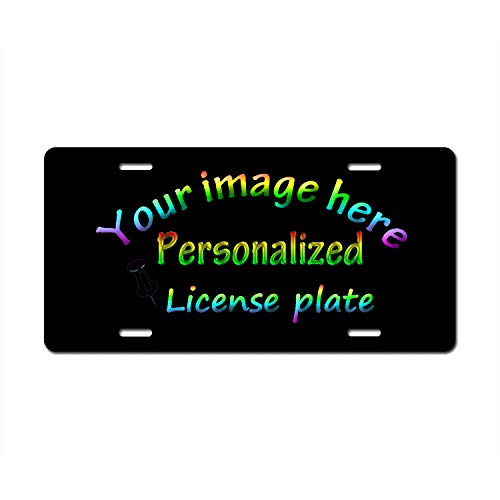 - HVSWAHPOI Custom License Plate - Customized License Plates Front Cover for Cars Personalized License Plates Aluminium Novelty Auto Car Tag Vanity Gift