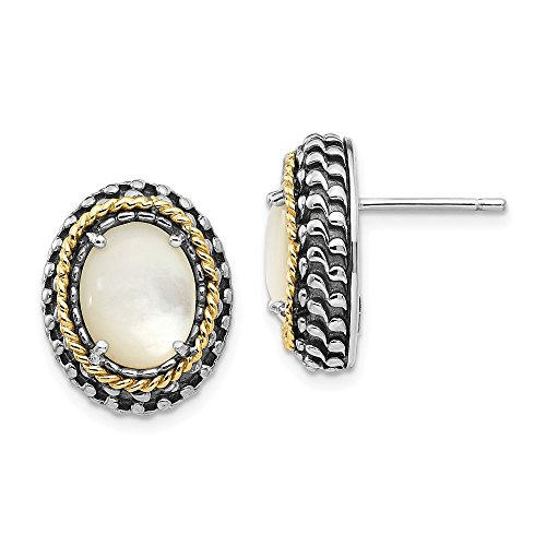 Mia Diamonds 925 Sterling Silver and 14k Yellow Gold MOP Post Earrings ()