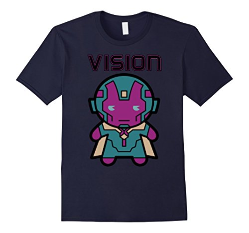 Mens Marvel Vision Kawaii Cute Profile Avenger Graphic T-Shirt Medium Navy