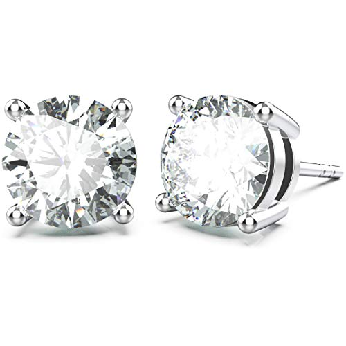 Jewlpire 18K White Gold Plated Sterling Silver Classic 4 Prong CZ Simulated Diamond Stud Earrings for Women & Girls (1 Pair)