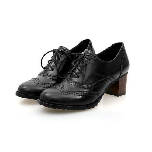 Gloednieuwe Mode Vintage Dames Dikke Hakken Oxford Schoenen Zwart