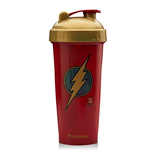 PerfectShaker Performa - Justice League Movie Series, Leak Free Bottle with Actionrod Mixing Technology for Your Sports & Fitness Needs! Dishwasher and Shatter Proof(Flash)