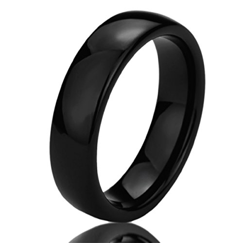Personalized Wedding Band Ring (Free Engraving Personalized Titanium Comfort Fit Wedding Band Ring 6mm Black Classic Ring)