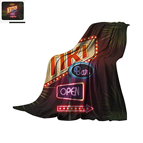 """Luoiaax Tiki Bar Warm Microfiber All Season Blanket Old Fashioned Neon Signs Illustration of Open Bar Palm Tree Branches Roadside Summer Quilt Comforter 60""""x36"""" Multicolor"""