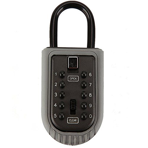 Key Lock Box Storage Combination Realtor Key Safe Box 10-Digit Push Button Set Your Own Combination Padlock Security Key Lock Box for Home Garage School Spare House Keys ()